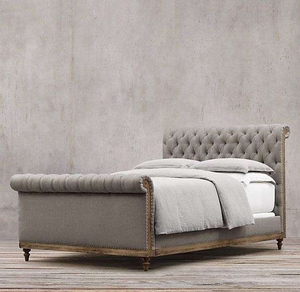 56 Deconstructed Chesterfield Sleigh Bed With Footboard