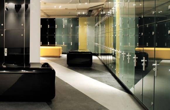 Modern locker room design multi colored stone look