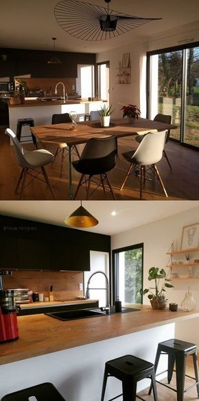 cuisine moderne ouverte noir et bois sur salon moderne industriel scandinave suspensions. Black Bedroom Furniture Sets. Home Design Ideas