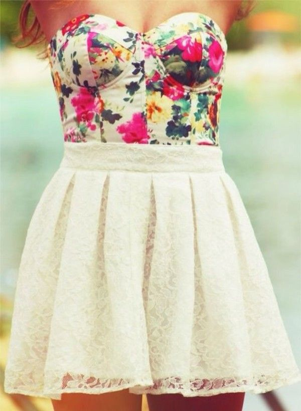 Floral Bustier & White Lace Skirt
