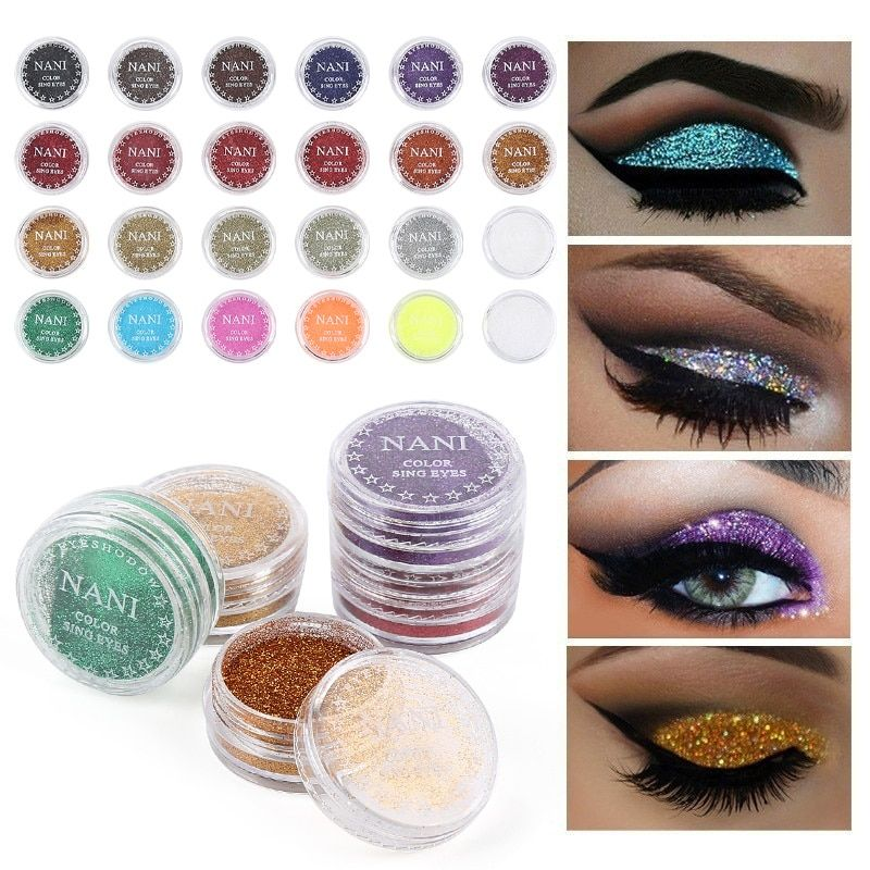 Qibest 30 Color Glitter Powder Eyeshadow Cosmetics Colorful Party Makeup Sexy Lips Eye Loose Metal Eye Shadow Blue Silver Beauty Essentials