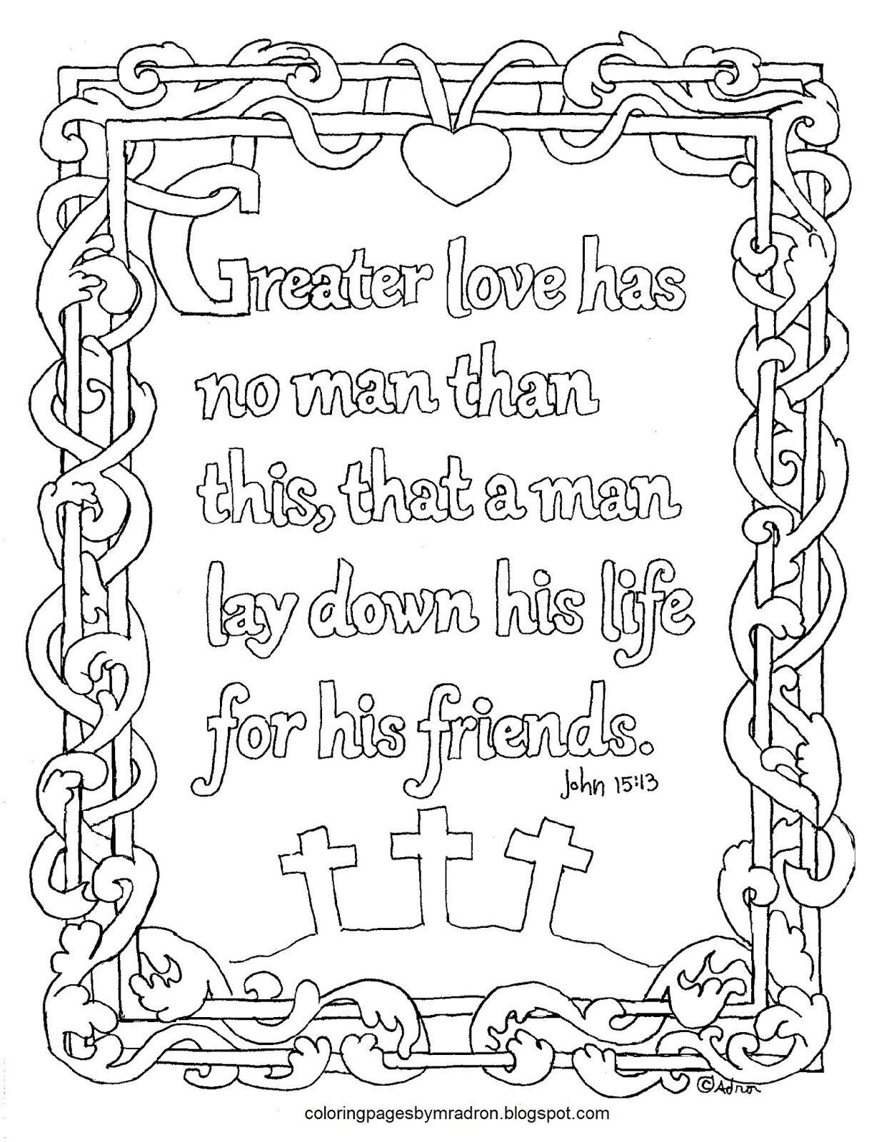 John 15 13 Greater Love Has No Man Printable Coloring Page
