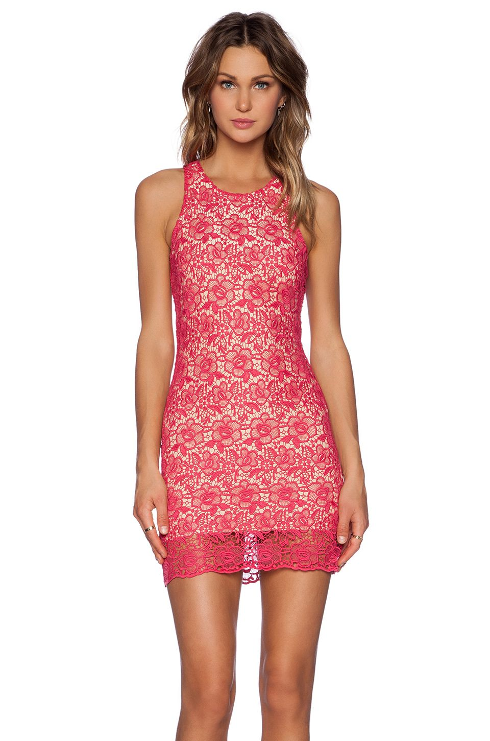 Lovers + Friends Lovers + Friends Radiant Dress in Pink Lace ...