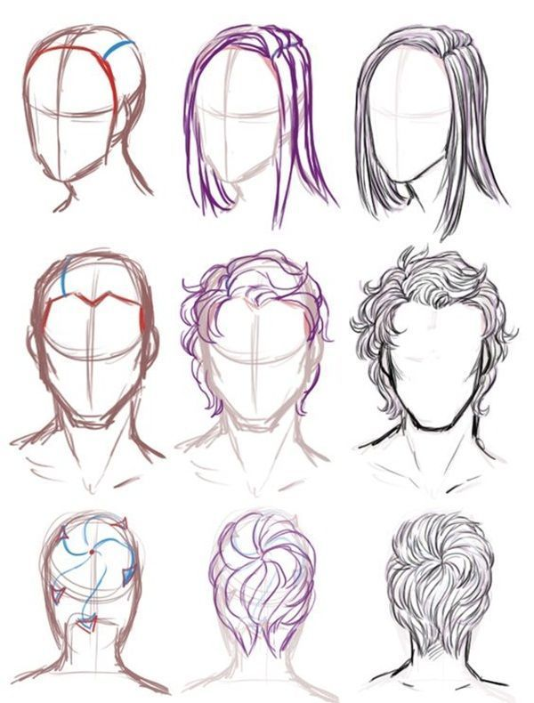 How To Draw Hair (Step By Step Image Guides -   14 mens hair Drawing ideas