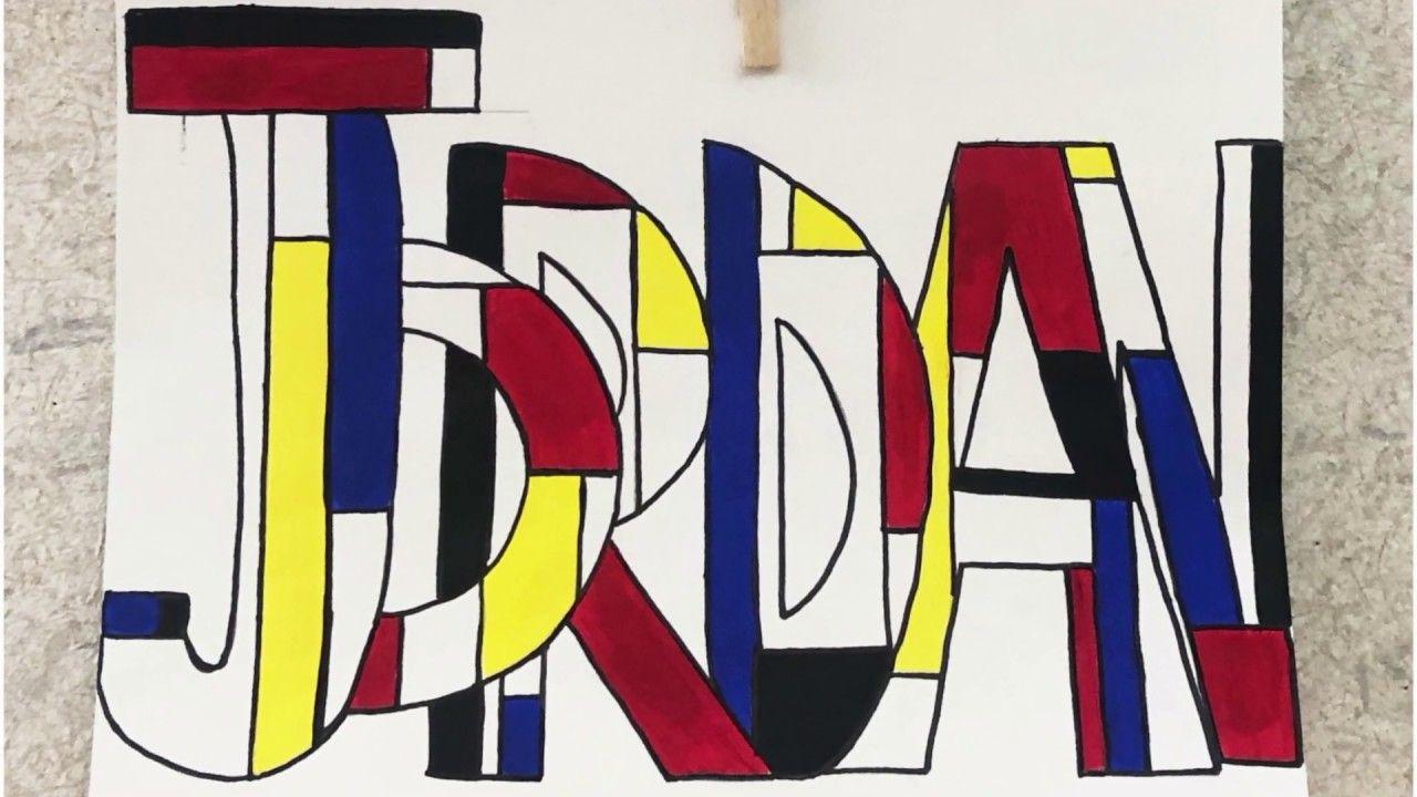 Write My Name Mondrian Style ️💛💙 in 2020 Mondrian