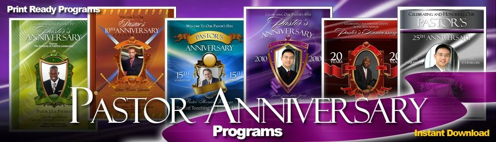 Pastor And Wife Anniversary Program Template Graphic Design
