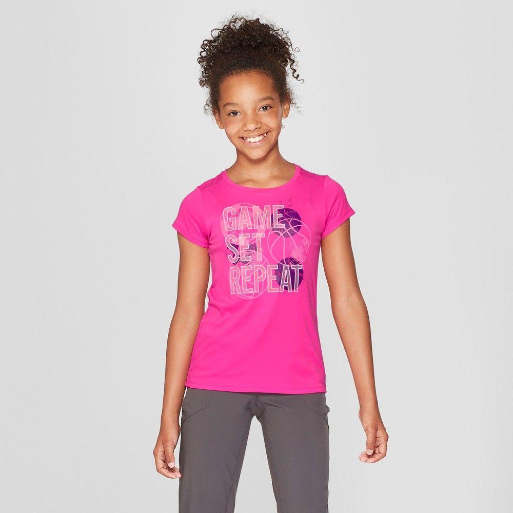 a64fa200c092 Girls' Game Set Repeat Graphic Tech T-Shirt - C9 Champion Fuschia Pink XS