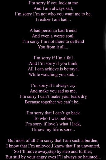 Sorry for being a bad friend poems