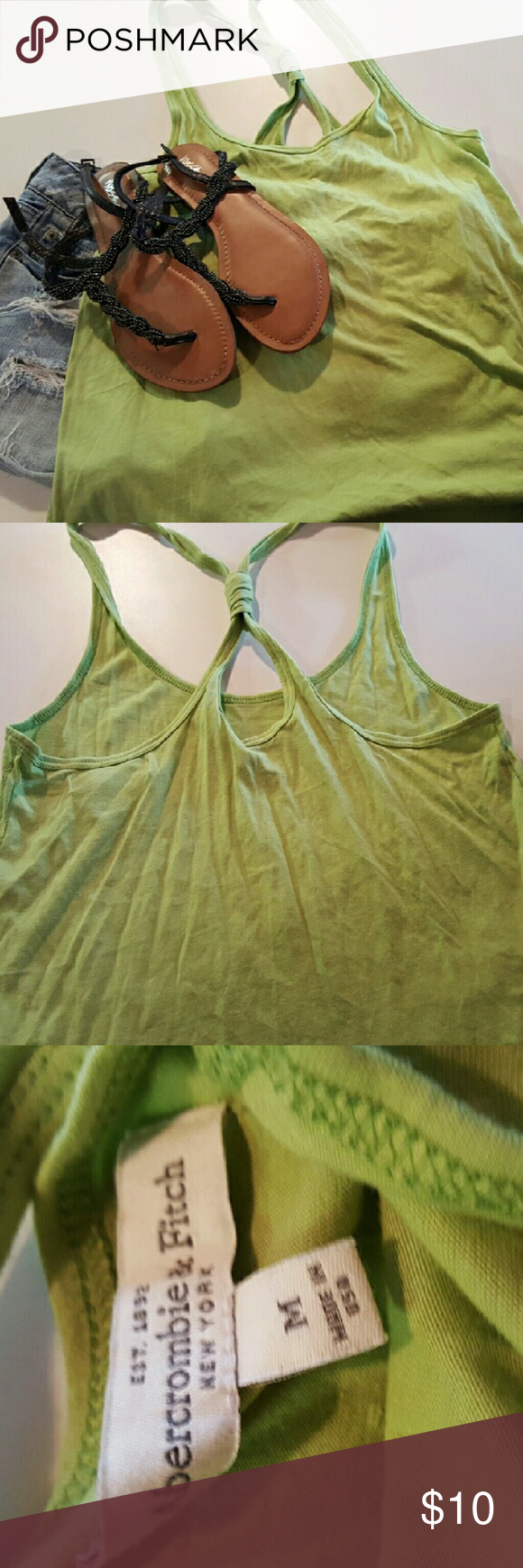 Green Abercrombie Tank Perfect condition, really cute. Just no longer my style Abercrombie & Fitch Tops Tank Tops