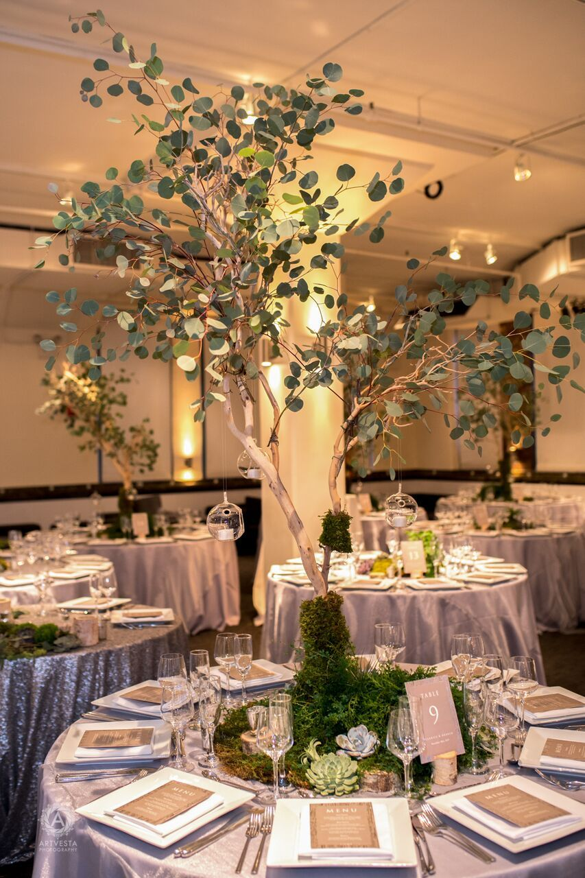 Woodsy Nature Theme Wedding Reception No Flowers No Problem Wedding Theme Centerpieces Nature Themed Wedding Wedding Reception Flowers