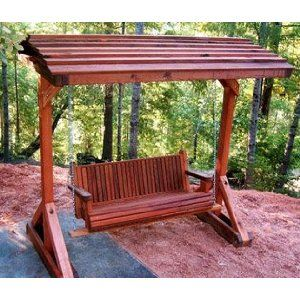 Forever 5 Foot Old Redwood Porch Swing With Roof Porch Swing