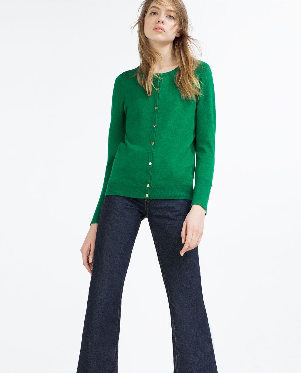 Chaqueta punto mujer verde