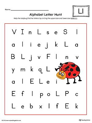 Alphabet Letter Hunt Letter L Worksheet Color