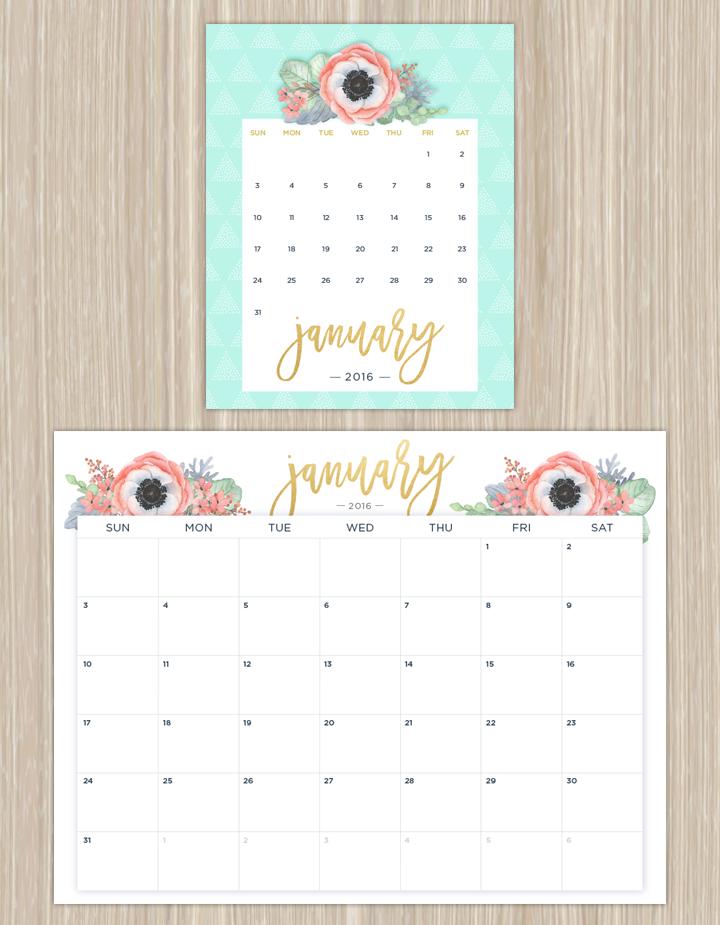 Homemade Calendar 2018 : Printable calendars for a more floral