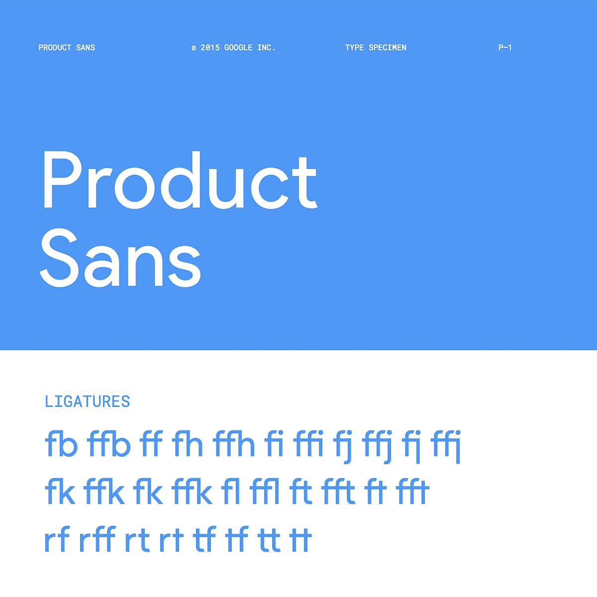 Product Sans Ligatures / type specimen by Google