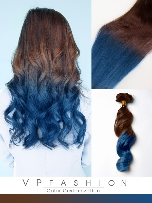 Blue Ombre Human Hair Extensions For Brown Hair Cs031 Blue