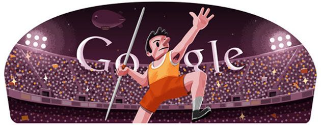 The Javelin throw event will begin at the London Olympics 2012 on August 8. Google Doodle meanwhile displays its own version.
