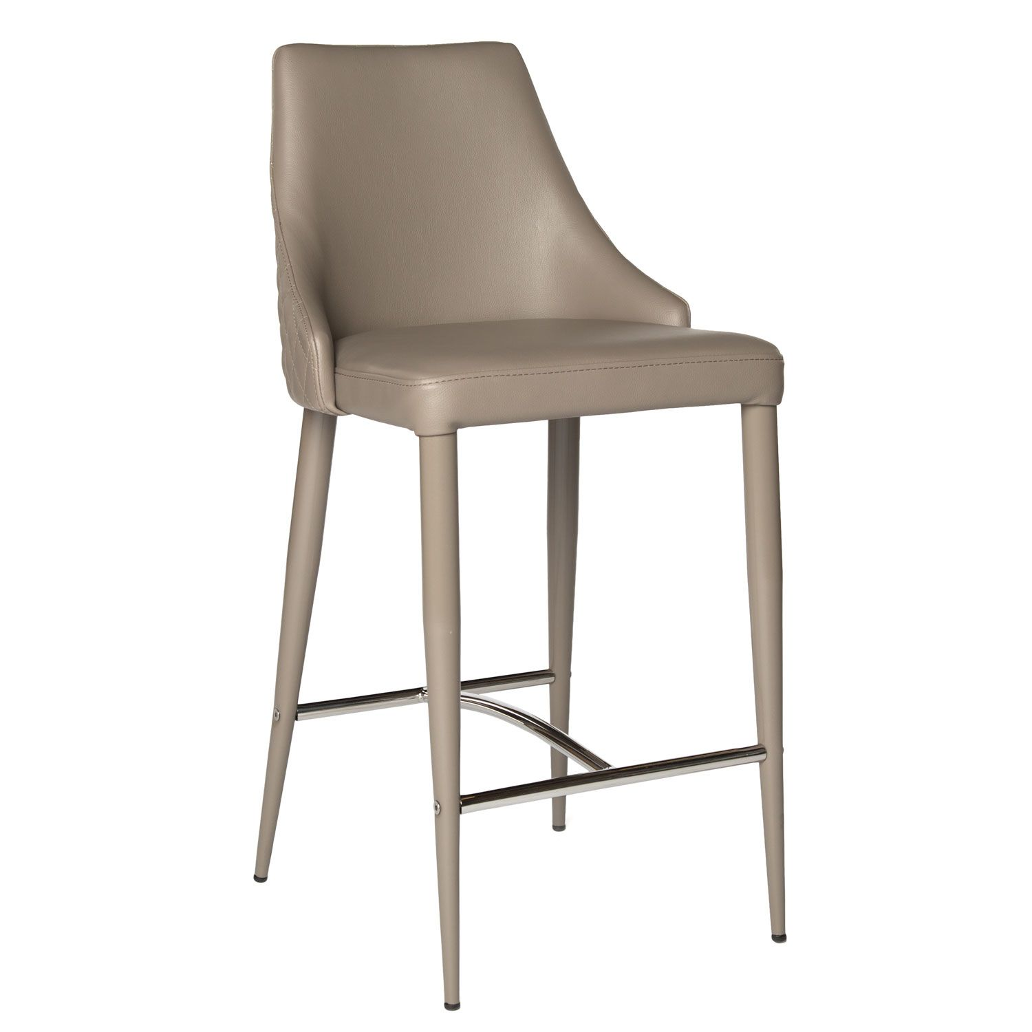 Taupe Color Counter Height Bar Stool With Quilted Back Design Matching Color Painted Metal Legs Non Swi Bar Stools Stool Kitchen Stools With Back