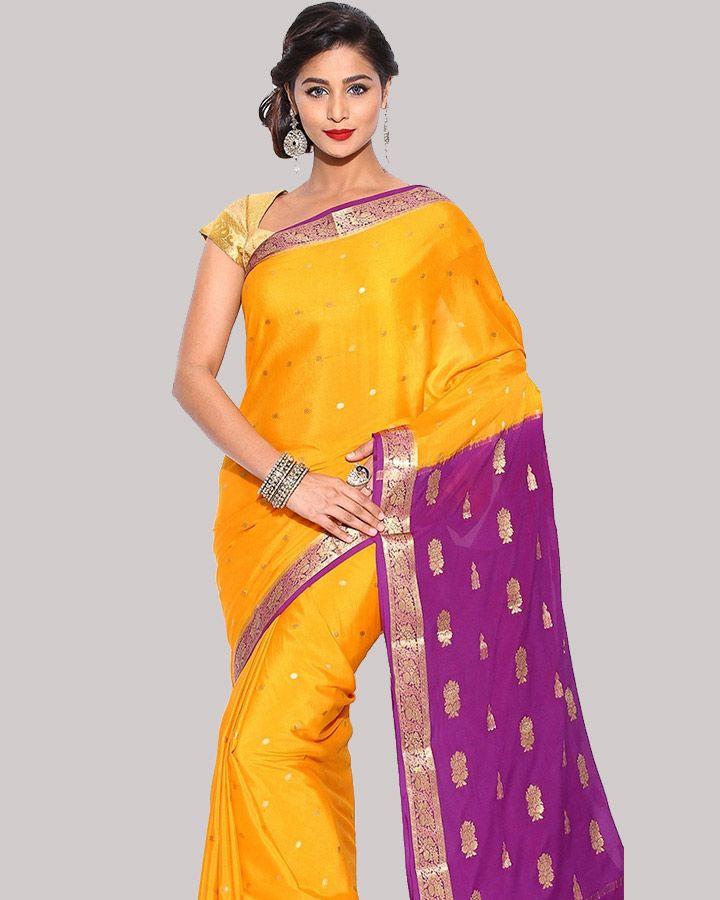Yellow Color Silk Saree for South Indian Bride #BridalSaree #YellowSilkSaree