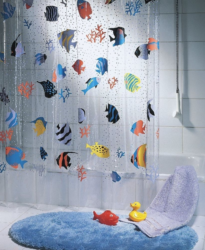 Clear fish shower curtain - Bathroom Shower Curtain Fish Clear Plastic 180 X 200 Blue Orange Green Long Bath Playlearn