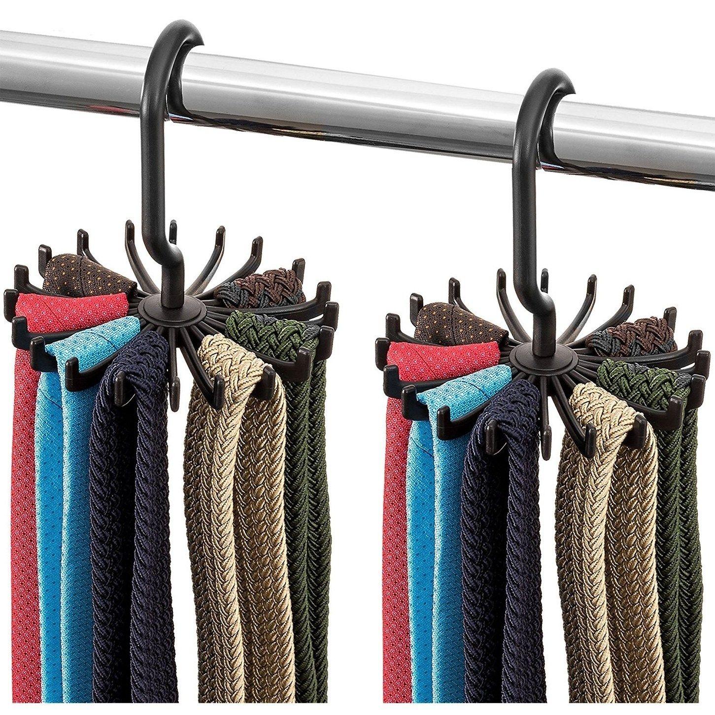 Adjustable 20 Hooks Rotating Belt Scraf Rack Organization Hanger Fresh Holds