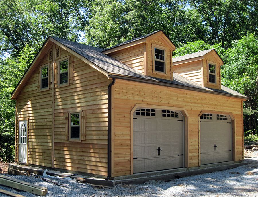 24x28 2car, 2 story garage with cedar siding and dormers