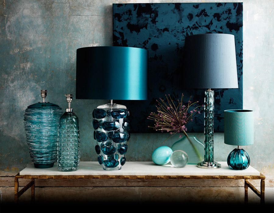 Gorgeous collection of colourful lamps from Porta Romana! Home - wohnzimmer deko turkis braun