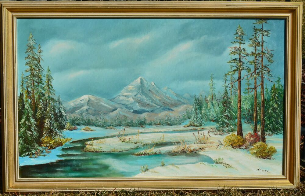 Vintage Original Oil Painting Mountain Landscape Winter Signed By Schreck Realism Canvas Painting Landscape Vintage Landscape Mountain Paintings