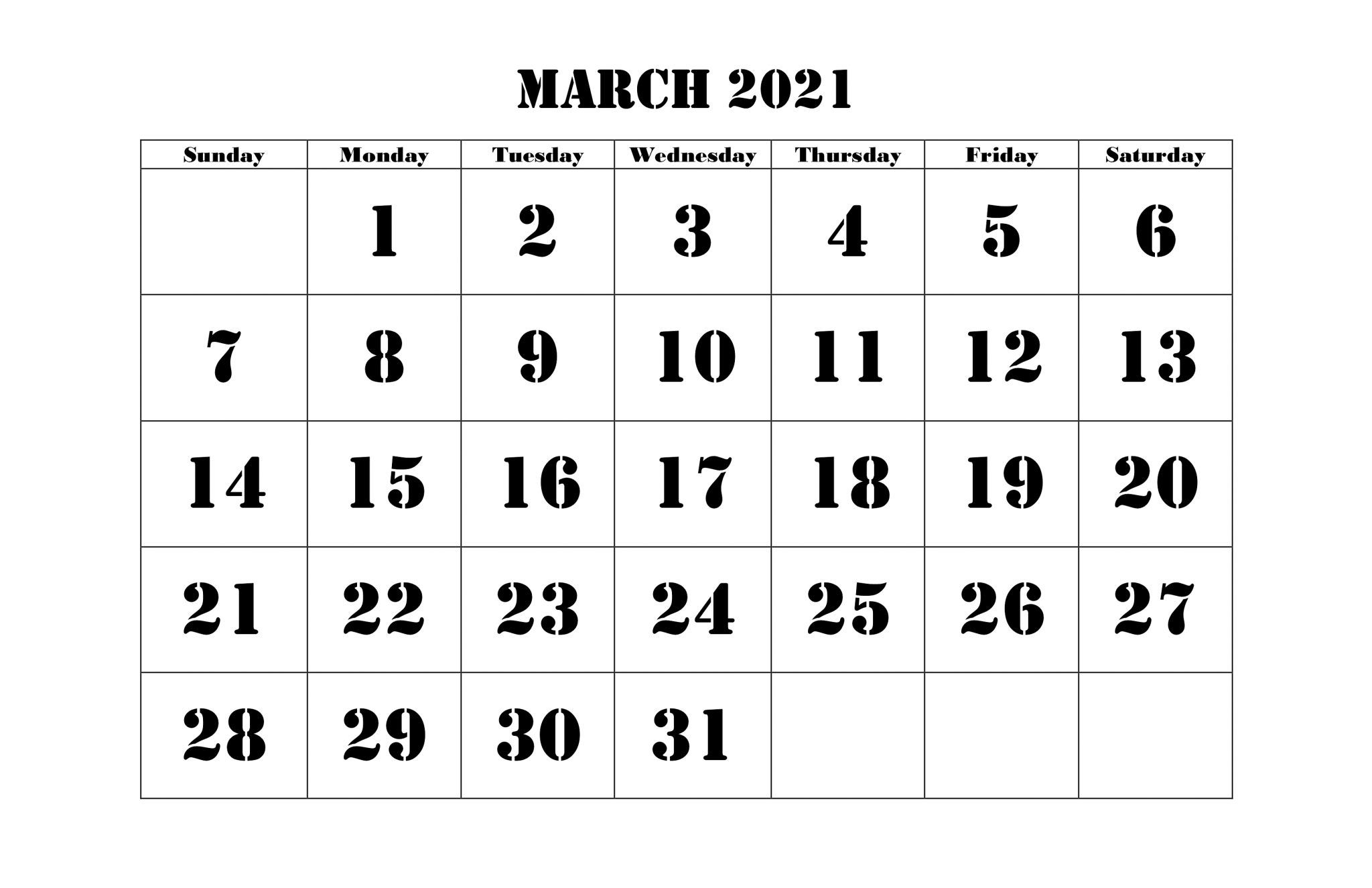 March 2021 Calendar Template Editable With Notes In 2020 2021