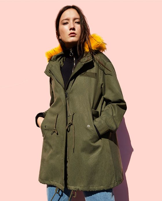 Image 1 of PARKA WITH COLOURFUL FAUX FUR HOOD from Zara