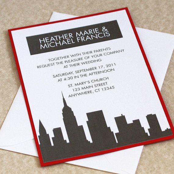 Handmade Detroit Skyline Wedding Invitations By Lano