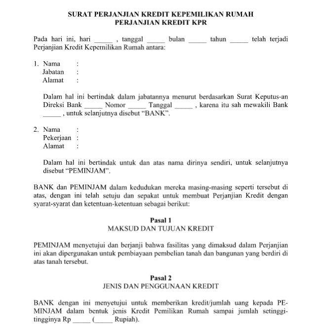 Contoh Surat Perjanjian Kredit Kepemilikan Rumah Kpr