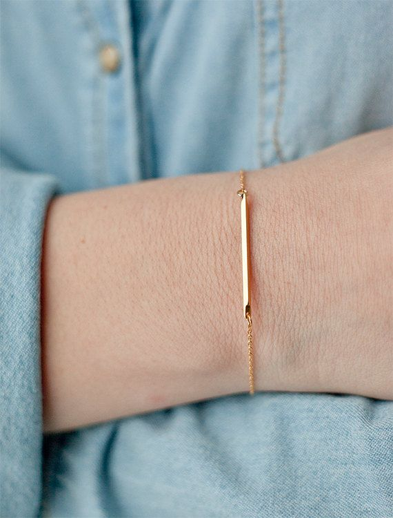 Sideways gold bar bracelet dainty bracelet dash charm bracelet