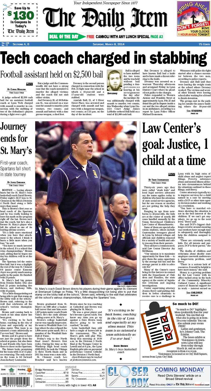 The Daily Item - Saturday, Mar  8, 2014 | Newspapers Pinning