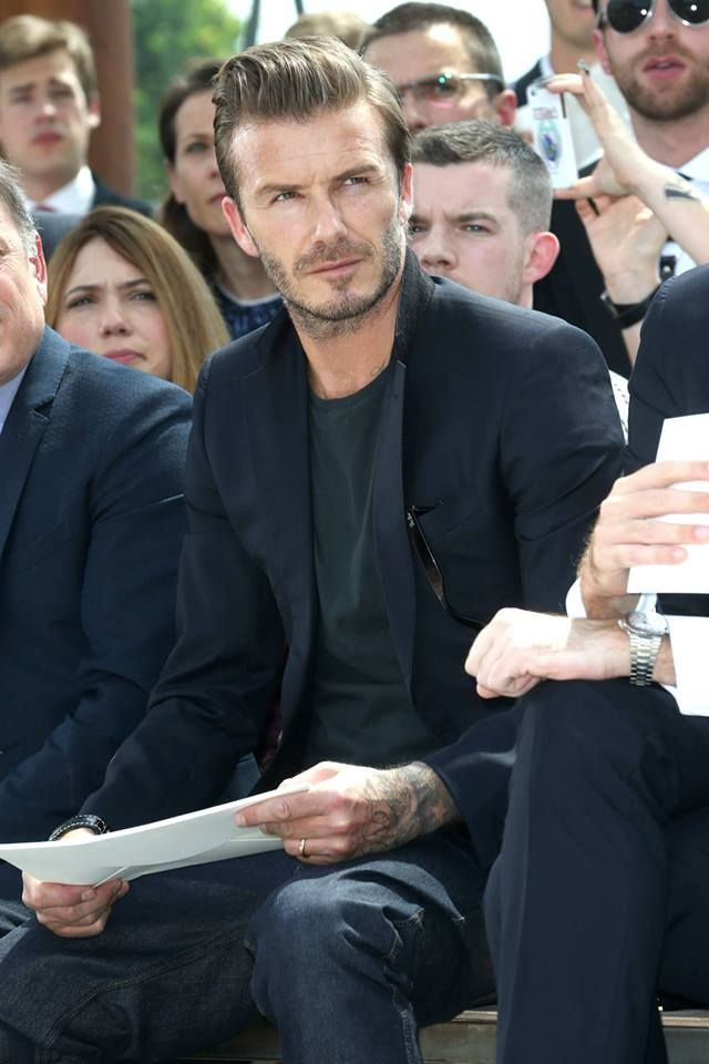 David Beckham at the Louis Vuitton Men's SS14 Fashion Show.