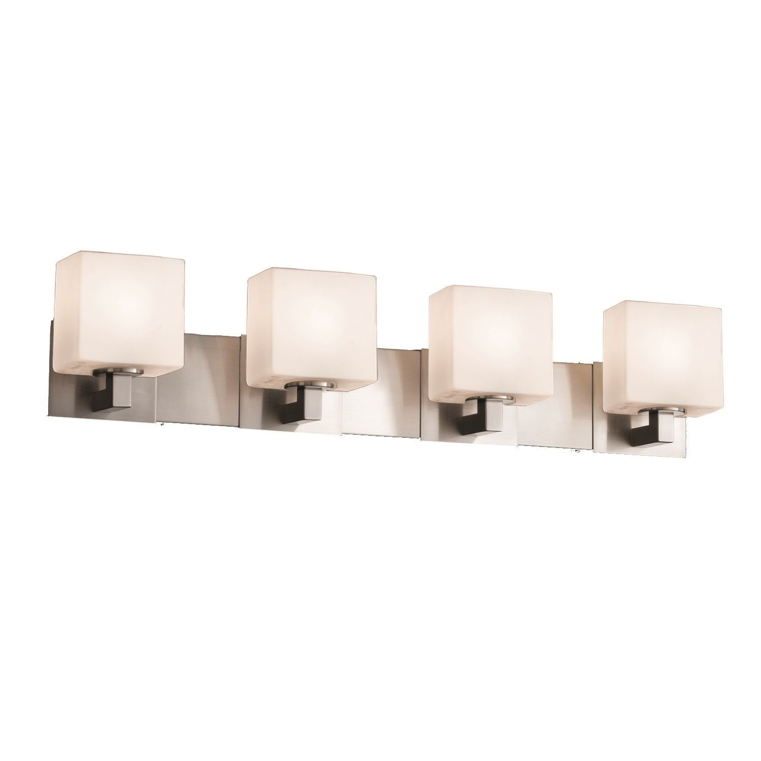 Justice Design Group Fusion Modular 4-light Nickel Bath Bar, Opal Shade