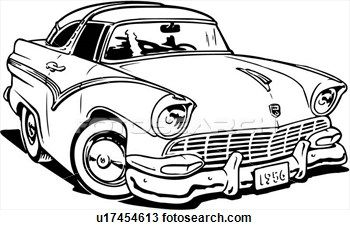 Illustration Lineart 1956 Ford Crown Victoria Classic