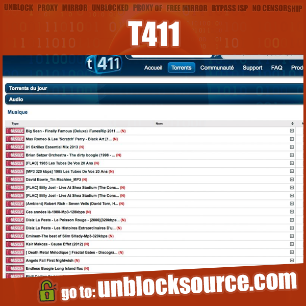 Unblocked T411 proxy mirror list   Proxies. Free mirror. Mirrors online