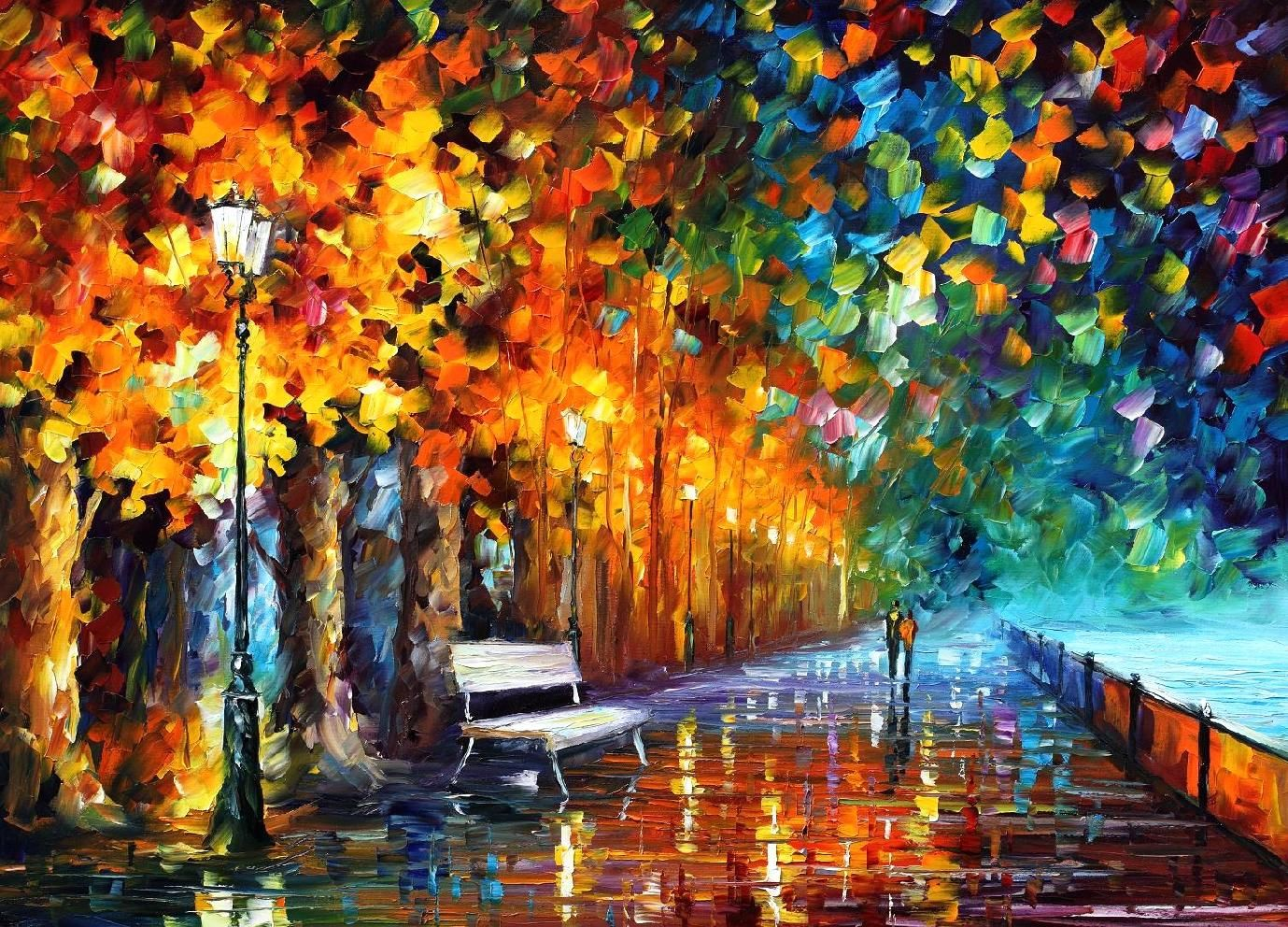 Way to home by leonid afremov rainy nights pinterest for Oil paintings for the home