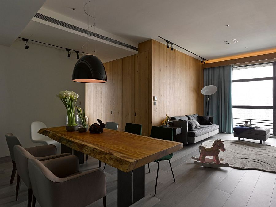 Wooden separations are used to craft additional rooms inside the taipei city apartment decoist