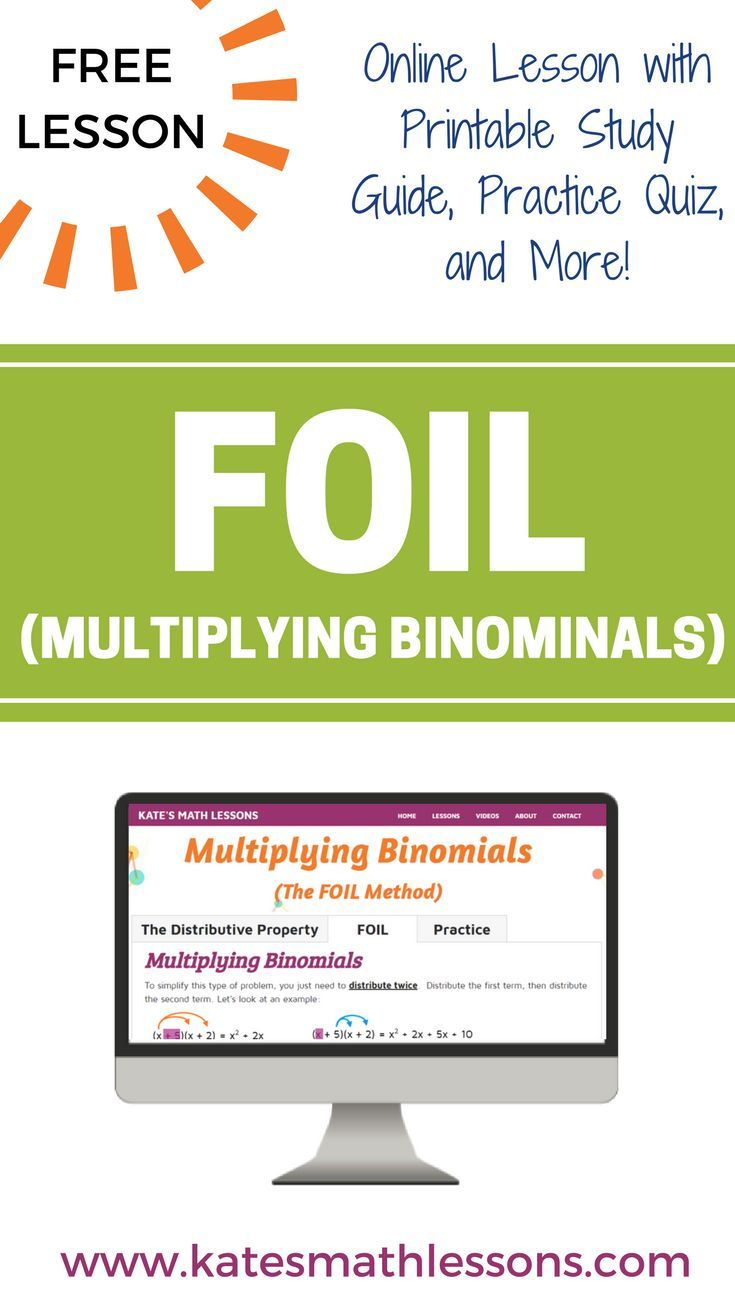 Multiplying Binomials (Using FOIL) | Pinterest | Distributive ...