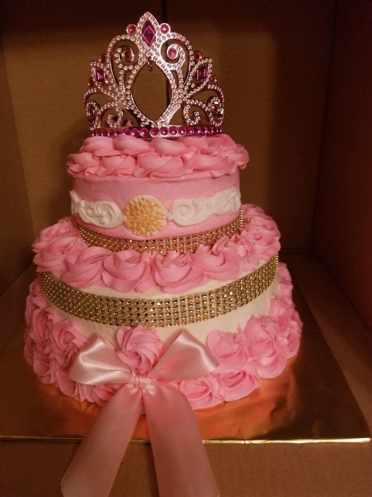 Princess Baby Shower Cake...2 Tier Pink Gold And White!! Vanilla