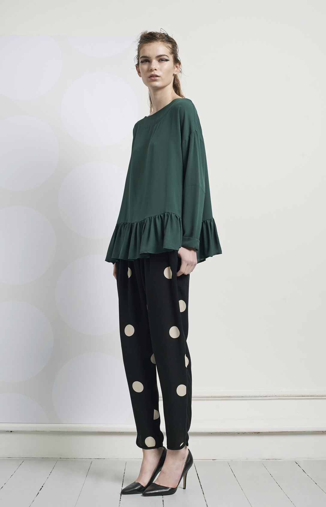 Momo blouse - dark green & Jolene pants - mega dot b/w