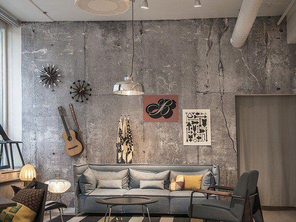 Concrete Walls Ideas Living Room Wall Decorating Ideas Grey Sofa Concrete Wall Interior Design Concrete Walls Interior Interior Wall Design