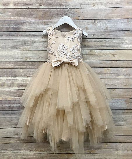 ff0d541ad5d Precious Kids Champagne Sequin Bow-Tie Tiered Dress - Toddler   Girls