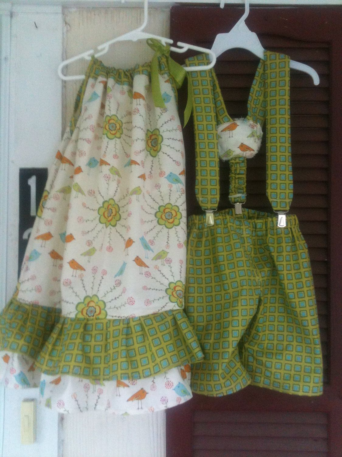 brother and sister matching outfits via etsy  kaksoset