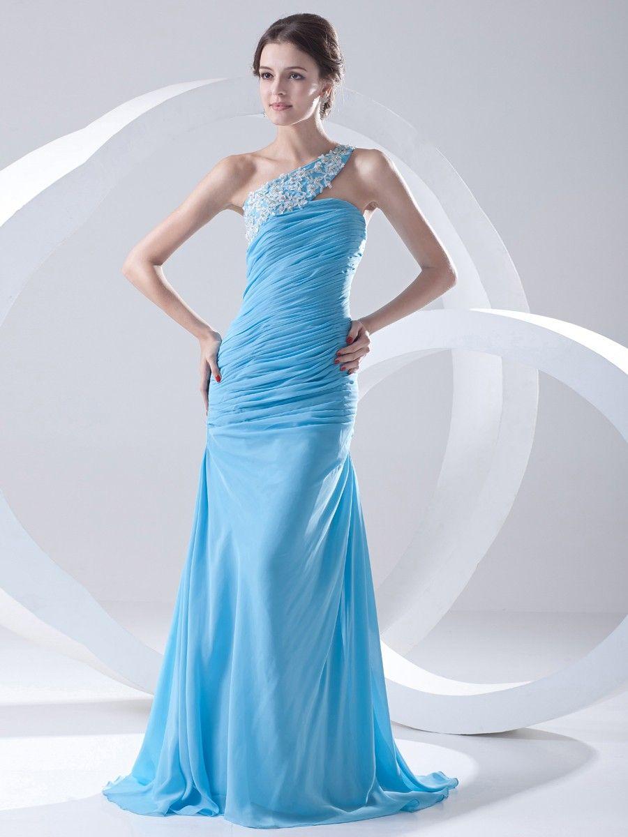 Chiffon One Shoulder Appliques Mermaid Prom Dress at nextdress.co.uk ...