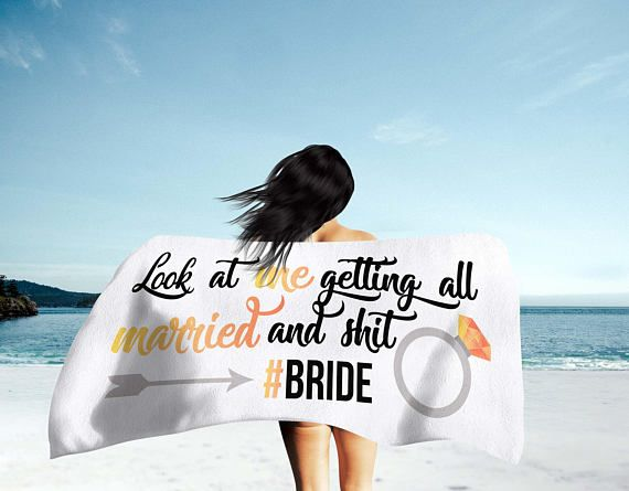Bride Beach Towel - Beach Bridal Shower Towel - Beach Bride - Beach Bachelorette Party Prop Decorations - Bridal Shower Gifts For Bride