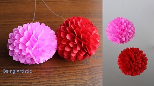 Diy Hanging Paper Ball Paper Craft Handmade Paper Crafts