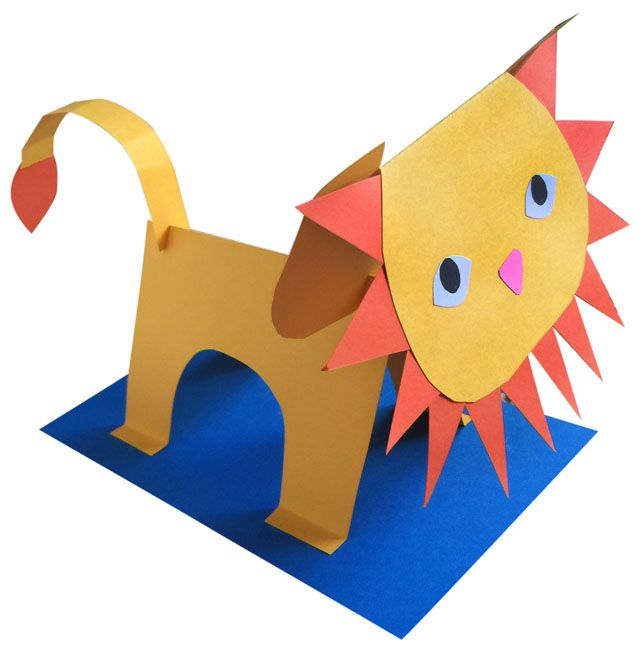 3D Paper Lion | Sculpture projects, Teacher and Lion craft